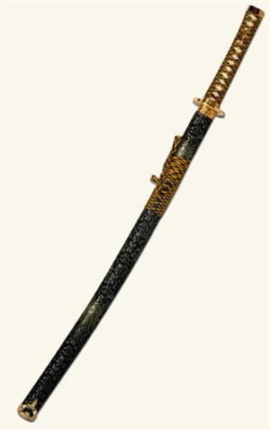 Black and Gold Tapestry Samurai Sword